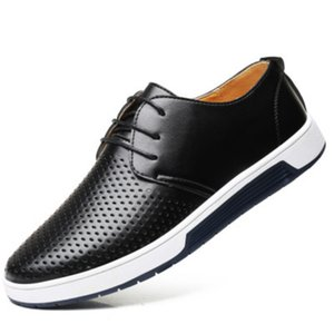 Wholesale 2019 Hot Men Casual PU Shoes Breathable Loafers Lace up Flat Sneakers for Office Party KA BEST