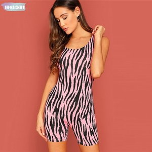 Wholesale Neon Pink Zebra Print Tank Leg Romper Square Neck Straight Beach Clothes Summer Women Beads Bodycon Short Jumpsuit