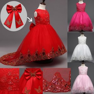 Wholesale Girls Butterfly Party Dress Kids Sequins Lace Long Tail Red Girl Dress for Wedding Junior Bridesmaid Dress for Teen Girls Clothes