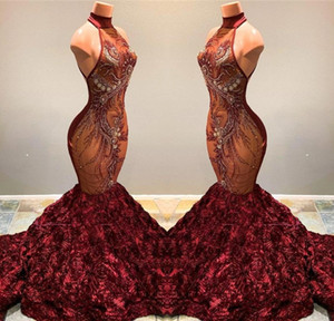 Wholesale Gorgeous Burgundy Mermaid Prom Dresses 2019 High Neck Lace Appliqued Ruffled Flowers Pageant Party Gowns Vestidos BC1181