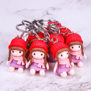 Soft Baby Stuffed Toy keyring Cute PVC Toy Kid Plush Dolls keychain Mini Plush Animals key chain baby For girls women Funny Gift