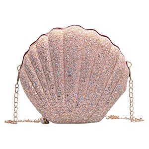 AIZHIYI Fashion Chain Sequined Shoulder Bag For Women Pu Leather Handbags Cute Shell Shape Purse Mini Summer Bag bolsa feminina