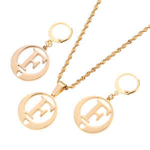 Wholesale Stainless Steel Gold Color Initial Necklace Earring Jewelry Set Monogram Round Pendant Jewelry Alphabet Jewelry Set F