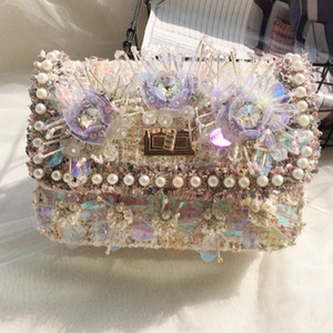 Women's Elegant Pink Rhinestone pearls Bow Bags Flower Satchel Bag Ladies Fashion Woolen Shoulder Clutch Bags For Girls Wholesale and retail on Sale