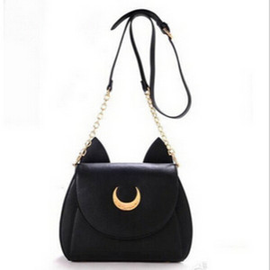 Wholesale Sailor Moon Bags Summer Limited For Ladies Handbag With PU Leather Black White Cat Luna Moon Women Messenger Crossbody Bag