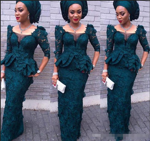 Luxury Aso Ebi Style Modest Full Lace Evening Dresses Mermaid Juliet Square Long Sleeves Peplum Formal Dresses Dark Green Women Prom Gowns on Sale