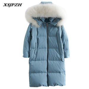 Wholesale 2018 Winter New Women s Down Jacket Long Paragraph Over The Knees Big Fur Collar Hooded Outer Fashion Thick Warm Coat LB272