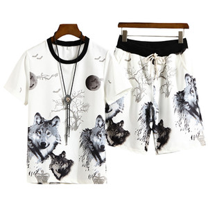 Wholesale Summer d Printed Wolf Mens Sportswear Sets T Shirt Shorts Cool Tracksuit Men Suits Two Pieces Casual Man Clothing Size M XL
