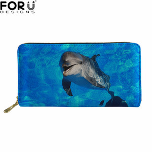 Wholesale FORUDESIGNS Women Wallets Dolphin Prints Blue Purse for Ladies Casual Daily Long Wallets Leather Clutch Purse Coin Pocket