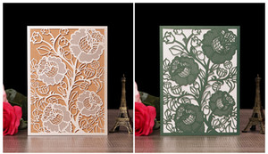 Wholesale 2019 Elegant wedding invitations greeting card business thank you meeting cards RSVR flora modern laser cut invitation paper