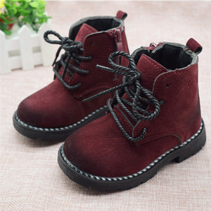 Size 21-30 Fashion 2019 Autumn Boys Baby Boots For Girls Children Martin Boots Kids Ankle Zip Sneakers Girl Casual Toddle Shoes Y19061906 on Sale