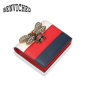 Wholesale 2017 Fashion Brand Bee Bag Wallet Genuine Leather Women Short Wallets Short girl buckle wallet ladies S027