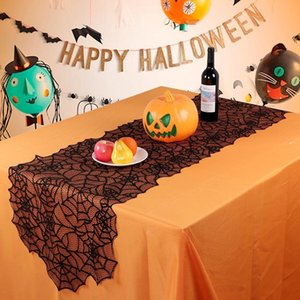 Wholesale Halloween Table Decoration Black Lace Spider Web Tablecloth Fireplace Scarf Creative Tables Cloth Cover Party Home Decor GGA2684