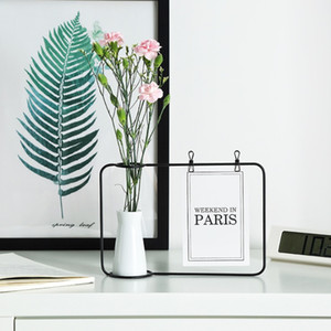 Wholesale New Office Creative Iron Photo Frame Stand Postcard Clip Holder Home Decor Fashion Design Include Vase W9012