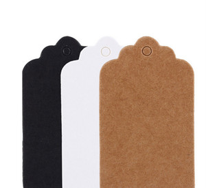 Wholesale Scallop Kraft Blank Hang Tag Kraft Paper Tags Gift Tag Table Number Cards Brown White Black Colors
