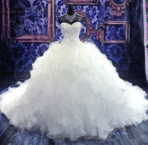2020 Luxury Crystal Beaded Ball Gown Wedding Dresses Princess Gown Corset Sweetheart Organza Ruffles Cathedral Train Bridal Gowns Cheap