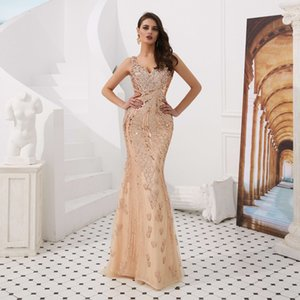 Wholesale Major Beading Girls V Neck Pageant Dresses Hollow Back Crystals Sequins Mermaid Evening Gowns Jewel Tulle Sweep Train Sparkline Prom Dress