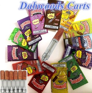 Wholesale DABWOODS Cartridges ml ml Ceramic Coils Vapes Carts Wood Mouthpiece Tips Flavor Packing Bag Vaporizer Thick Oil Vapor Pen Atomizers