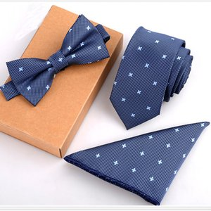 Wholesale RBOCOTT Tie Sets Mens Slim Tie Dot Floral Ties Hanky Bowtie cm Blue Necktie Pocket Square Bow ties For Men Wedding Party No Box