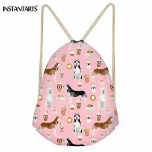 Wholesale INSTANTARTS Fashion Small Drawstring Bag Cute Husky Printed Daily String Backpack Travel Shoes Storage Bag Cinch Sack Girls Boys