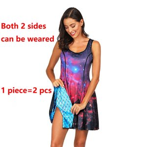 Wholesale 2019 New Star Sky Fish Scale Digital Printed Women Sleeveless Dress Sides Printed Dual purpose Casual Girl Dress