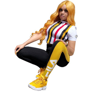 Wholesale Brand Designer F Letter Women Tracksuits Summer Striped Crop Top T shirt Pants pieces sets Womens pants Sets Outfits Casual Clothes C7106