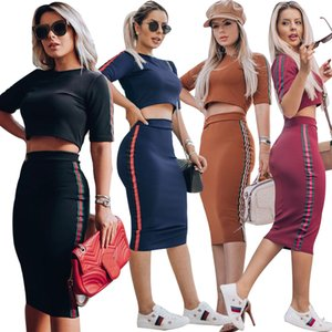 Wholesale 2019 summer fashion casual set with belt contrast color tight butt cover two piece set Special sales