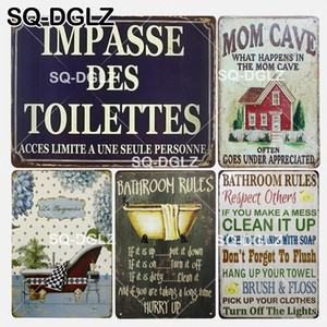 Wholesale SQ DGLZ New Bathroom Rules Tin Sign Wall Decor Toilettes Metal Crafts Painting Plaques Bathroom Rules Art Poster