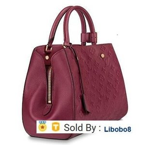 libobo8 M43258 MONTAIGNE MM Embossed burgundy Real Caviar Lambskin Le Boy Chain Flap Bag HANDBAGS SHOULDER MESSENGER BAGS TOTES