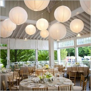 Wholesale 12pcs cm Round White Paper Lanterns Diy Chinese Japanese Ball Lampions Wedding Birthday Party Garden Christmas Decor
