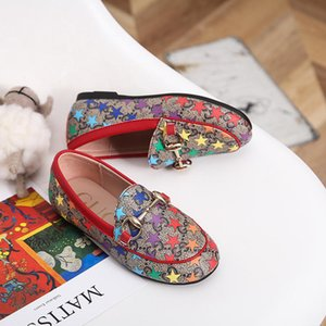 Girls Designer Dress Suit Shoe Slip-On Metal Buckle Brand Flats Shoes Casual Embroidery Print Horsebit Loafers Kids for Wholesale on Sale