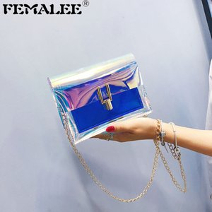 Wholesale Korean Fashion Women Brand Design Small Square Shoulder Bag Clear Laser Chains Crossbody Messenger Bags New Female Handbags