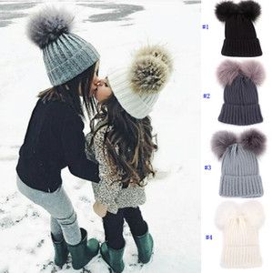 Wholesale Knitting Warm Hats With Double Fur Ball Pop Winter Beanie Hats Mom And Baby Family Matching Crochet Caps MMA2507