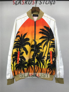 Wholesale Coconut Tree Printed Designer Bomber Jacket Kpop Unisex Satin Fabrics Stand Collar Varsity Jacket