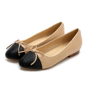 New luxury women's flat heel bow shallow mouth color round head comfortable casual shoes ladies High quality driving shoes on Sale