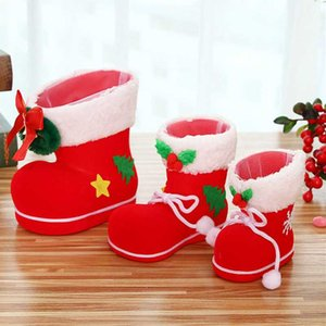 Wholesale 1pc Christmas Ornaments Christmas Flocking Boots Boot Pen Holder Decorative Candy Boots Decorations for Home