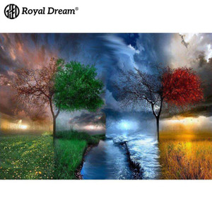 Wholesale Digital Oil Painting Diy Four Seasons Tree Landscape Flower Living Room Decorative Painting Fresco