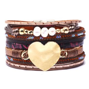 Wholesale Beads Heart Crystal Wrap Bracelet Multilayer Velvet Leather Diamond Bracelets wristband bangle band cuff for Women Jewelry drop ship