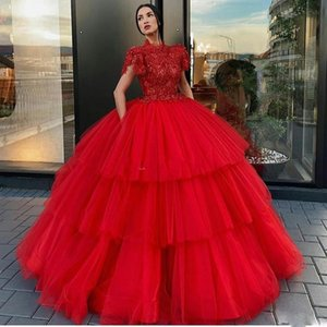 Wholesale Red Tiered Skirt Prom Dresses High Neck Short Sleeve Ball Gown Celebrity Evening Gowns Floor Length Tulle Cake Skirt Formal Party Wear