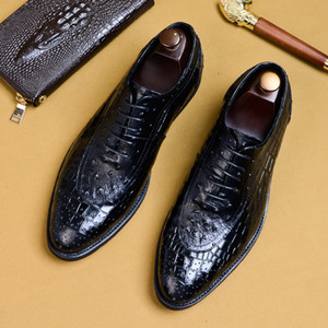Wholesale Crocodile Grain Black Coffee Mens Lace Up Dress Leather Shoes Round Toe Business Formal Oxfords Shoes