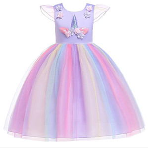 Wholesale 1pcs Flower Girls Unicorn Appliqued Princess Dress Rainbow Ruffle Dresses Children Easter Cosplay costumes Clothes Kids boutique