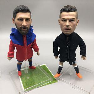 Soccerwe 12 cm Soccer Star Dolls Messi Neymar David Isco Zlantan Dybala Buffon Figures with Coats Delicate Design Gift