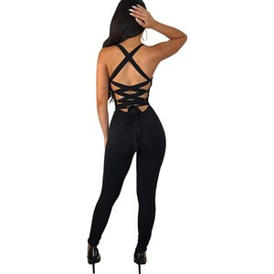 Wholesale Sexy Bandage Backless Rompers Tights Female Jumpsuits For Women Overalls Plus Size Playsuit Casual One Piece Bodysuit