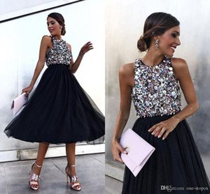Sparkly Sequined A-line Homecoming Dresses Short Tulle Cocktail Gown Knee-Length Formal Party Cocktail Dresses on Sale