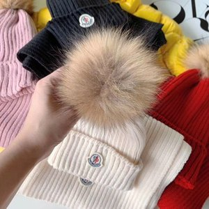 Wholesale 3 Colors Winter Baby Boy Girls Caps Scarf Warm Wool Knitted Hat Beanie Scarf Set Big Fox Fur Ball Hat Children Neck Warmer Cap tops