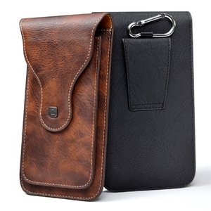 Wholesale Universal Cell Phone for quot quot Large PU Leather Wallet Case Bag Belt Clip Hanging Ring Vertical Flip Pouch for iPhone Galaxy