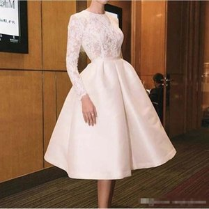 Wholesale Knee Length Prom Dresses With Jewel Neck Lace Nd Satin Long Sleeves Bridal Gowns Summer Wear Cheap Women Wear Evening Dress Short