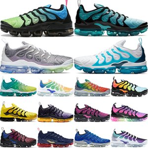 Wholesale TN Plus aurora green White Blue lemon lime top quality running shoes mens be true spirit teal Grid Print designer luxury women shoes