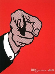Wholesale pointing finger for sale - Group buy Roy Lichtenstein Finger Pointing Handpainted HD Print Wall Decor Art Oil painting on canvas Mulit sizes Frame Options ry06