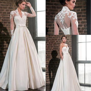 Wholesale jacket long train wedding dress for sale - Group buy Elegant Sweetheart Satin A Line Wedding Dresses with Lace Jacket Long Sleeves V Neck Floor Length Bridal Gowns Pockets Robe De Mariage